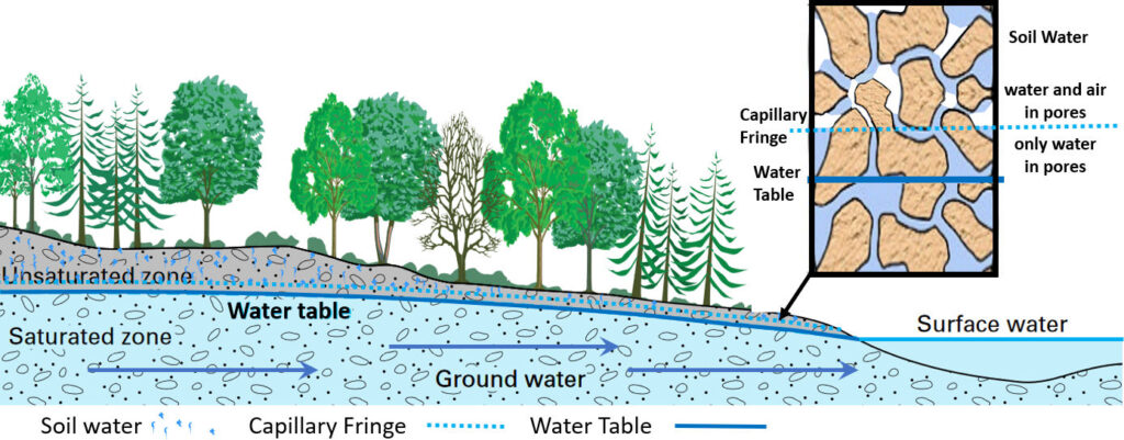 Figure showing a water table