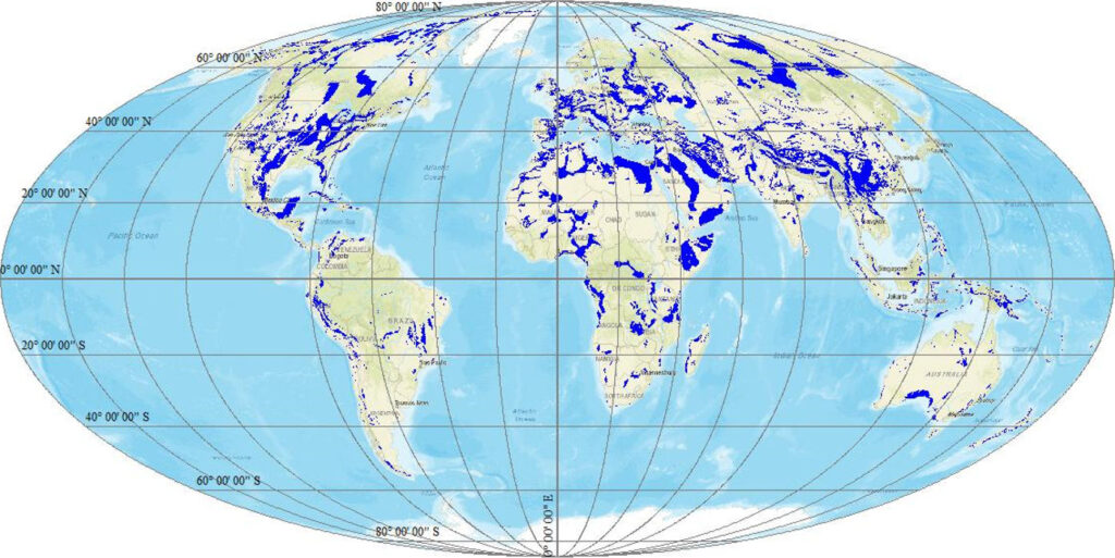 Map showing outcrop of carbonate and evaporite rocks forming karst aquifers around the world