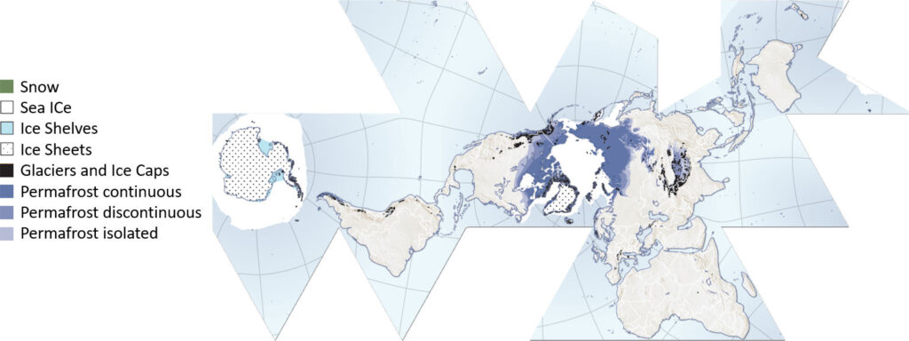 World map of the cryosphere (the frozen water part of the Earth system).