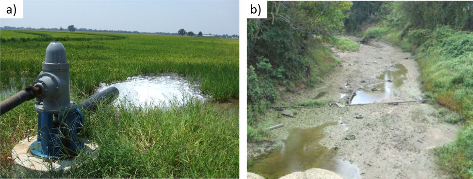 Photos showing the relation between groundwater pumping and streamflow