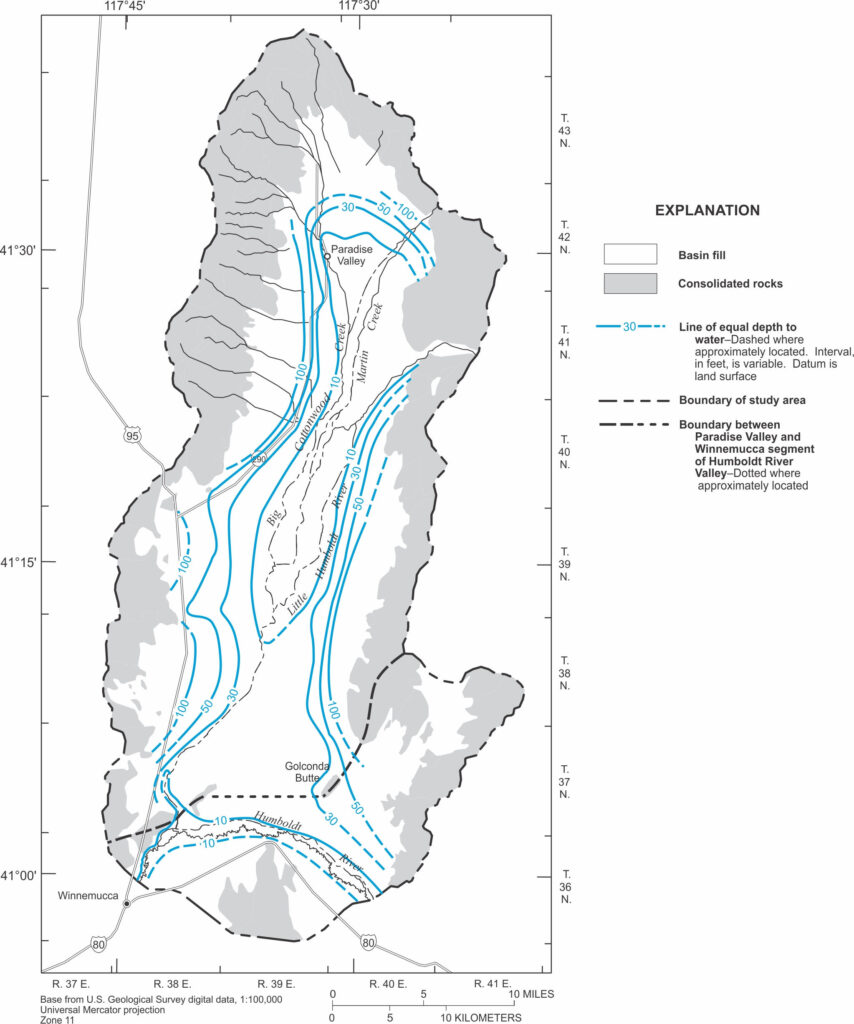 Map showing depth to groundwater in Paradise Valley, Nevada, prior to major development