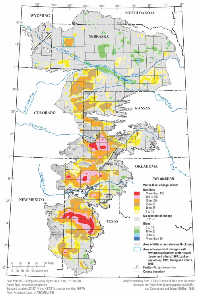Map showing changes in groundwater levels in the High Plains aquifer