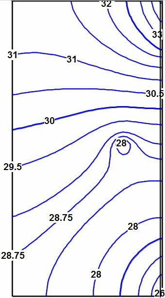 Contours of calculated heads in the aquifer