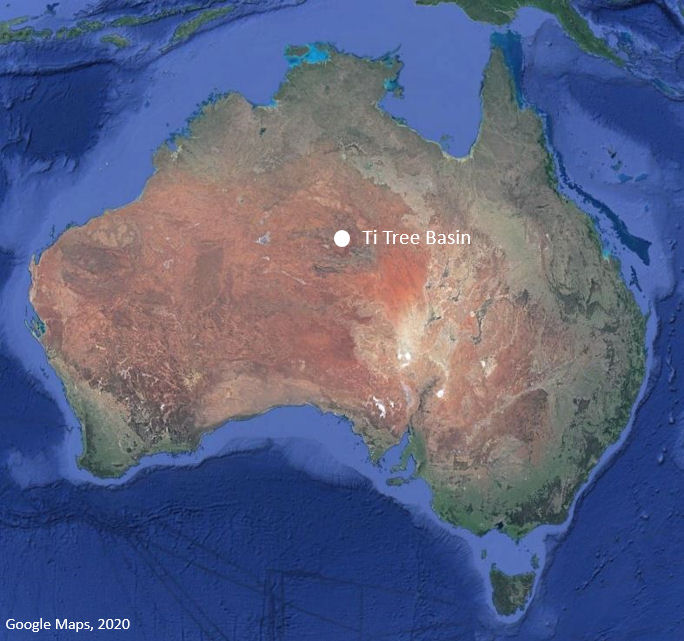 Map showing location of the Ti Tree Basin in central Australia