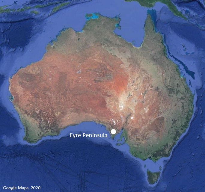 Map showing location of Eyre Peninsula, South Australia