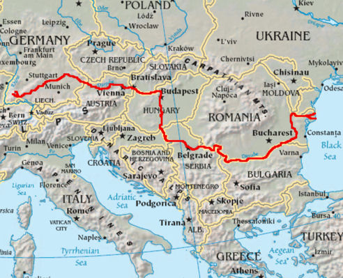 Map showing path of the Danube River in Eastern Europe