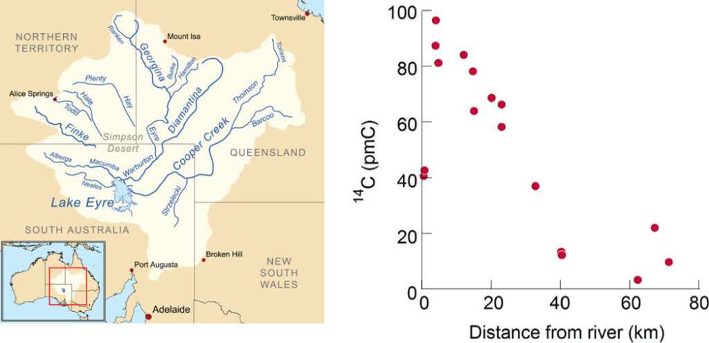 Carbon-14 activities in groundwater versus distance from the Finke River, central Australia.